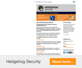 Find out more about Hedgehog Security's email marketing